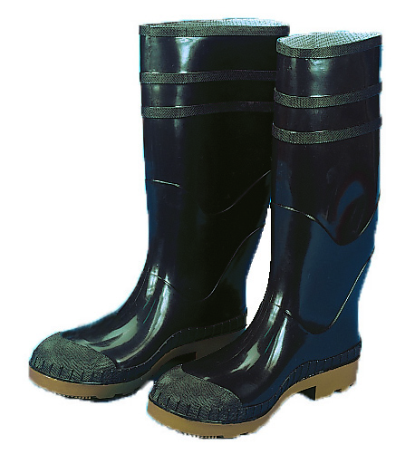 14502-1-11, 16 in. PVC Work Boot Over The Sock, Black Plain Toe, Size 11, Mutual Industries