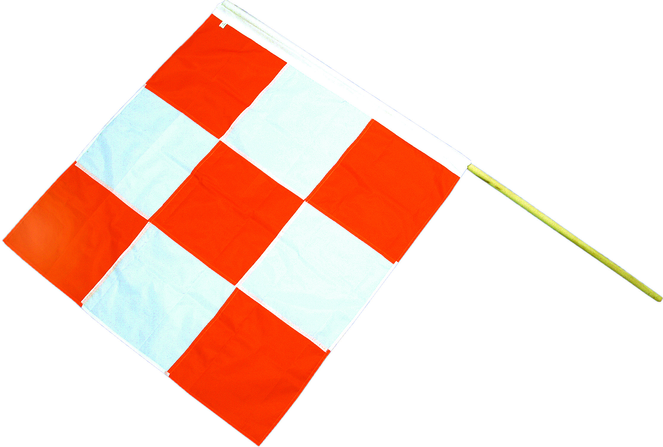14977-5, Heavy-Duty Nylon Airport Flag with 60 in. Staff, 36 in. Length x 36 in. Width, Orange/White, Mutual Industries