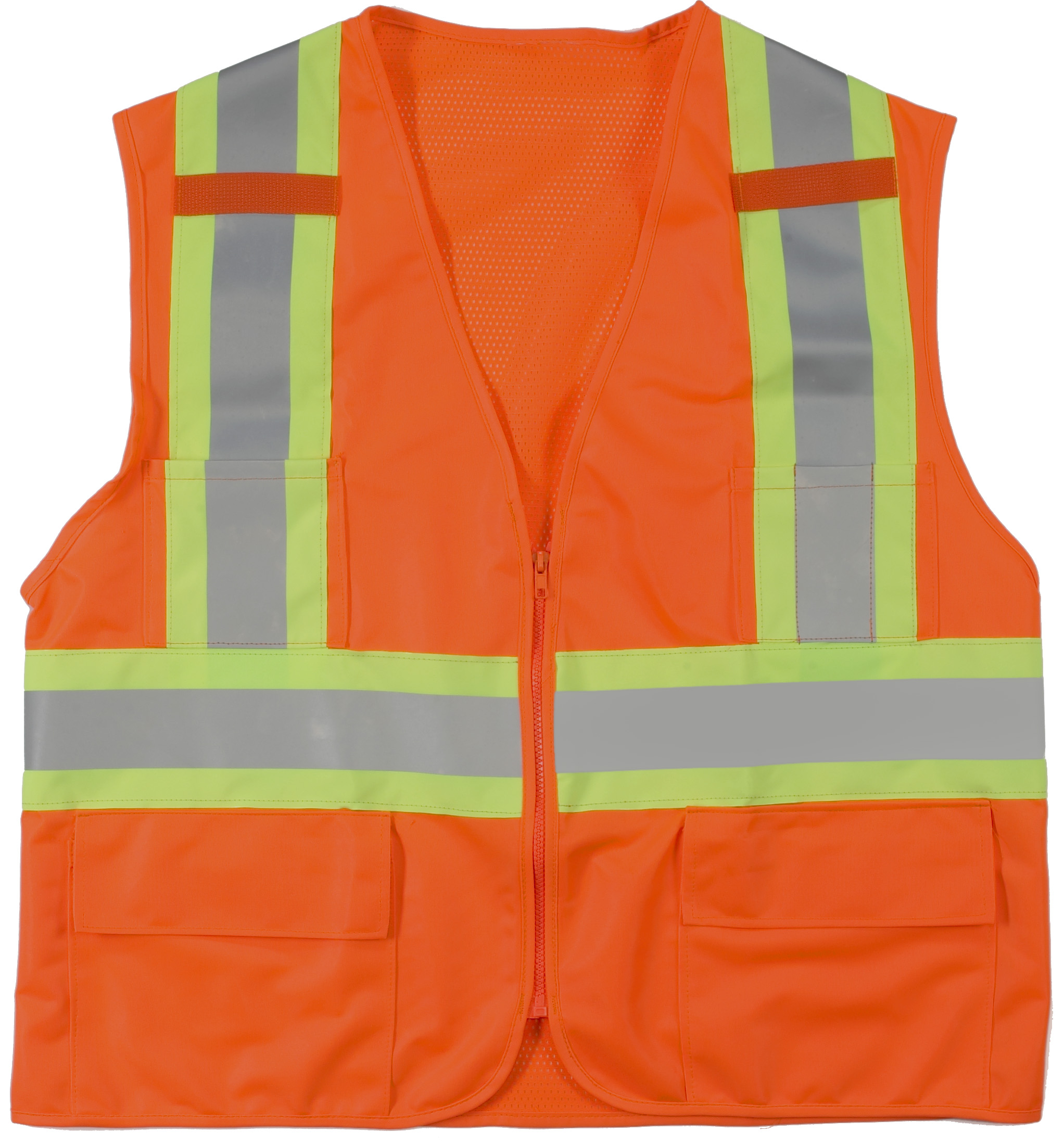 16368-0-4, High Visibility Polyester ANSI Class 2 Surveyor Safety Vest with Pouch Pockets and 4 Lime/Silver/Lime Reflective Tape, X-Large, Orange, Mutual Industries