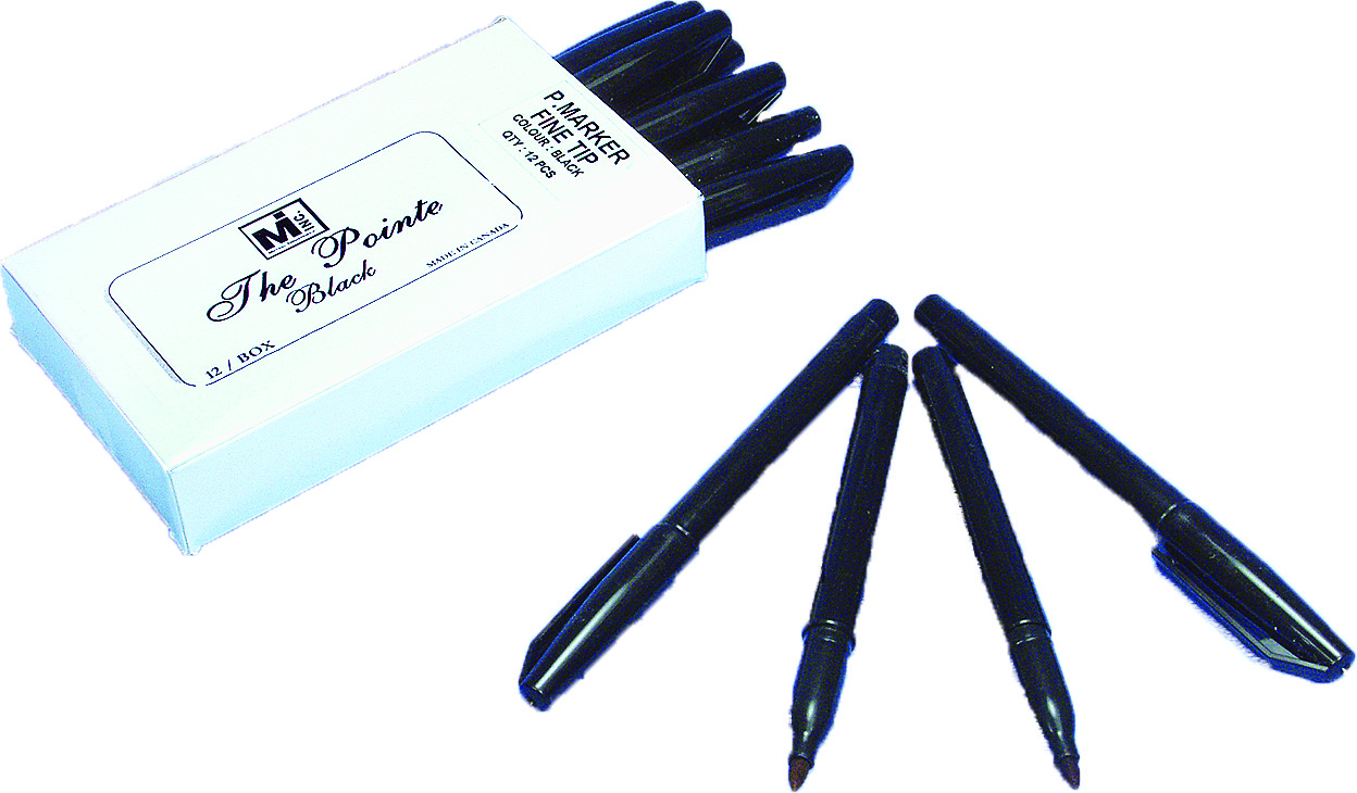 823-91, The Pointer Permanent Fine Tip Marker, Black (Pack of 12), Mutual Industries