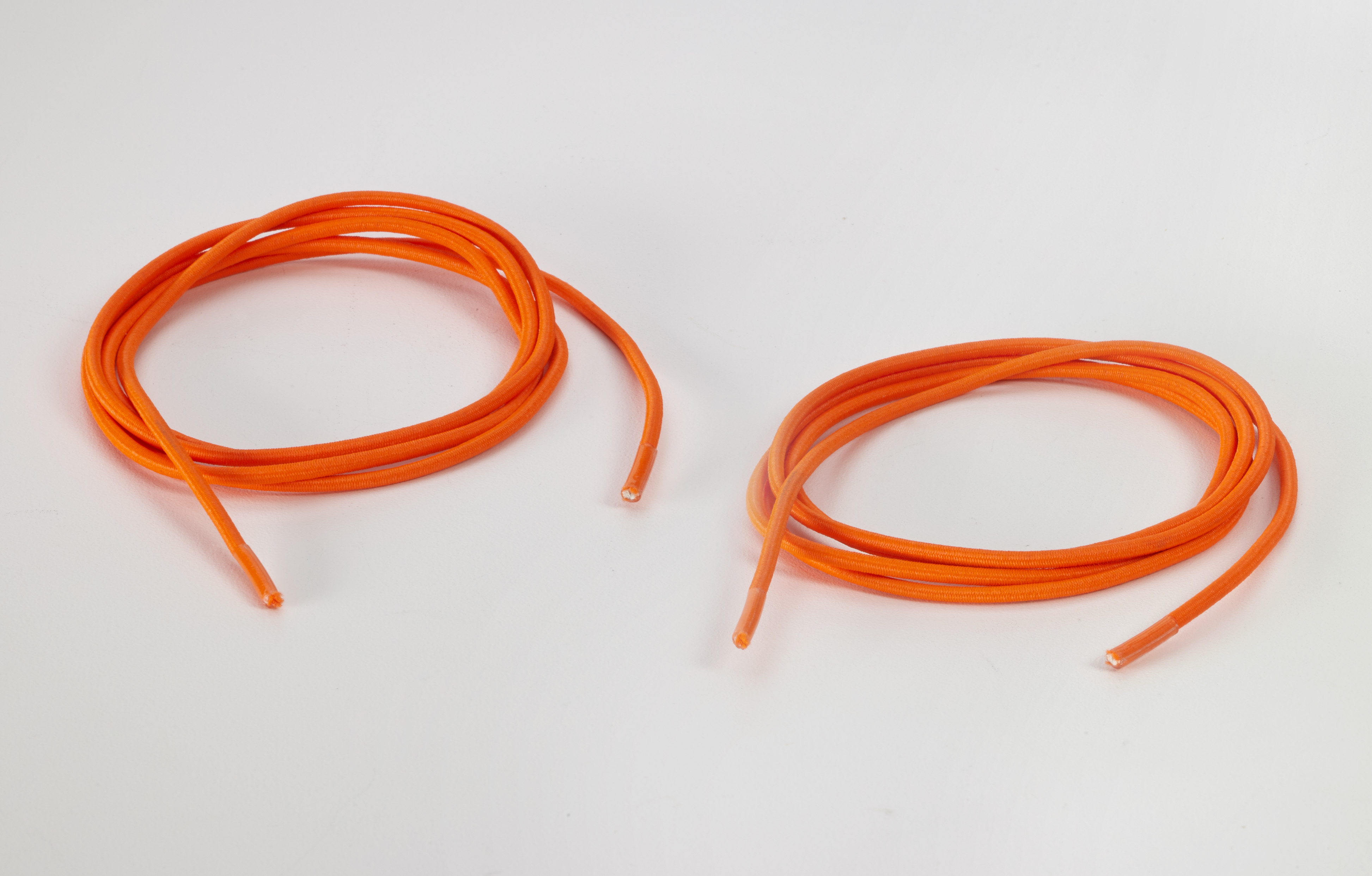 8900-NO-48SH, Shock cord 5/8 tipped laces, 48 lengths, Neon orange, Mutual Industries