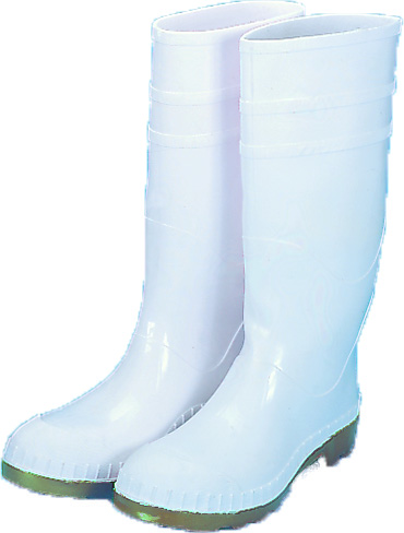 M14504-1-9, 16 in. PVC Work Boot Over The Sock, White Plain Toe, Size 9, Mutual Industries