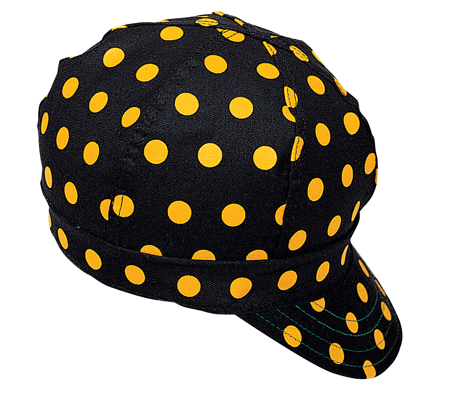 M7324-0-0, Kromer Welder Cap, Cotton, Length 5 in, Width 6 in- 1size, Black/Yellow Dot, Mutual Industries