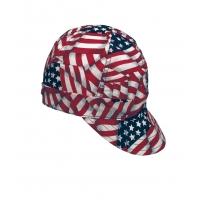 00336-00000-6625, Kromer USA Flag Style Welder Cap 6 5/ 8, Cotton, Length 5, Width 6, Mega Safety Mart