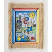 1234-2, Baby quilt kit, Boy Bear w/ tan minkee back 25