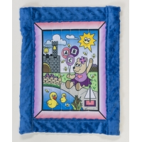 Toddler quilt kit, Girl Bear w/ blue minkee back 30' x 38'