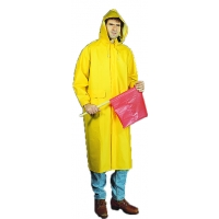 14506-0-5, PVC/Polyester Raincoat with Detachable Hood, 0.35 mm, XX-Large, Mega Safety Mart