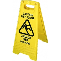 Polyethylene Bilingual Industrial Floor Sign with Picto, Legend in.CAUTION WET FLOOR in., Black on Yellow