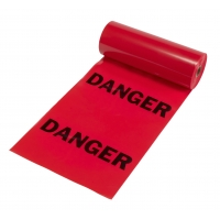 Tear-Off Danger Flags, Printed with 'DANGER', 16 in X 16 in X 1200 ft