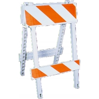 Injection Molded Type 1 Traffic Safety Barricade with Reflective Stripes, 8 in. Height