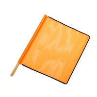 Heavy-Duty Open Mesh Safety Flag With Black Binding, 18 in. x 18 in. x 27, Orange(Pack of 10)