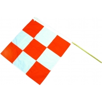 Heavy-Duty Nylon Airport Flag with 60 in. Staff, 36 in. Length x 36 in. Width, Orange/White