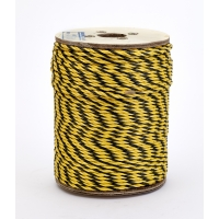 3-Strand Twisted Polypropylene Safety Rope, 1490 lbs Tensile Strength, 600 ft. Length x 1/4 in. Width, Yellow/Black