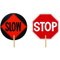 14983-6, Traffic Control STOP/SLOW Paddle with 6ft. Wooden Staff, 18 in. Diameter Sign, Mega Safety Mart