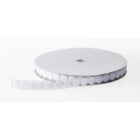 Pressure Sensitive Adhesive Coin Loop Fastener, 3/4' Diameter x 25 yds Length, White
