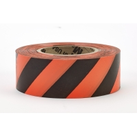 Flagging Tape Ultra Standard, 1-3/16' x 100 YDS,Glow Orange and Black Stripe (Pack of 12)