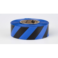 Flagging Tape Ultra Standard, 1-3/16' x 100 YDS, Blue and Black Stripe (Pack of 12)