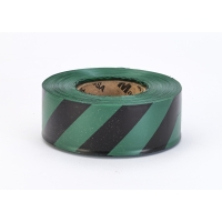 Flagging Tape Ultra Standard, 1-3/16' x 100 YDS, Green and Black Stripe (Pack of 12)