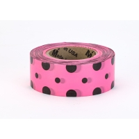 Flagging Tape Ultra Standard, 1-3/16' x 100 YDS, Pink and Black Dot (Pack of 12)