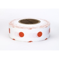 Flagging Tape Ultra Standard, 1-3/16' x 100 YDS, Red and White Dot (Pack of 12)
