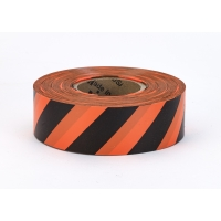 Flagging Tape Ultra Flag, 1-3/16' x 100 YDS,Orange and Black Stripe (Pack of 12)