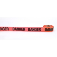 Flagging Tape Printed 'Danger', 1-1/2' x 50 YDS, Glow Orange (Pack of 12)