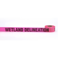 Flagging Tape Printed 'Wetland Delineation', 1-1/2' x 50 YDS, Glow Pink (Pack of 9)