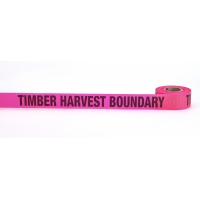 Flagging Tape Printed 'Timber Harvest boundary', 1-1/2' x 50 YDS, Glow Pink (Pack of 9)