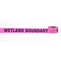 Flagging Tape Printed 'Wetland Boundary', 1-1/2' x 50 YDS, Glow Pink (Pack of 9)
