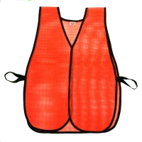 High Visibility Vinyl Coated Nylon Mesh Heavy Weight Plain Safety Vest, Orange