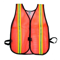High Visibility Vinyl Coated Nylon Mesh Heavy Weight Safety Vest with 1-1/2' Lime/Silver/Lime Reflective Stripe, Orange