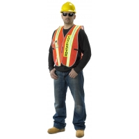 High Visibility Vinyl Coated Nylon Transit Authority Contractor Safety Vest with Clear Plastic ID Pocket, Orange