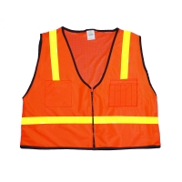 High Visibility Polyester Mesh Back ANSI Class 1 Surveyor Safety Vest with Pockets, X-Large, Orange