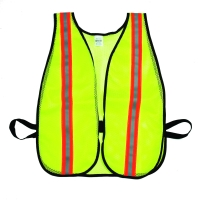 High Visibility Soft Mesh Safety Vest with 1-1/2' Vertical Silver/Orange/Silver Reflective Stripe, Lime