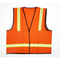 High Visibility Polyester Surveyor Safety Vest with Pockets, X-Large, Orange