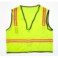 High Visibility Polyester 112OSO Solid Surveyor Safety Vest with Pockets, Large, Lime