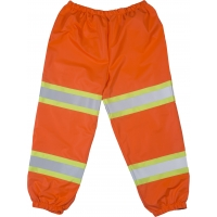High Visibility Polyester ANSI Class E Pant with 2' Lime/Yellow Reflective Tapes, Orange