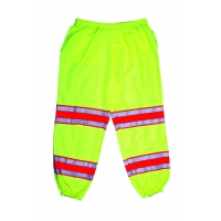 High Visibility Polyester ANSI Class E Pant with 4' Silver/Orange/Silver Reflective Tapes, Lime