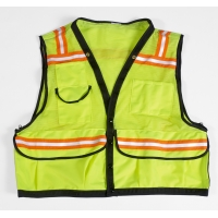 High Visibility Mesh Super Deluxe Surveyor Vest with 2 Vertical and 2 Horizontal 1-1/2' Lime/Silver/Lime Reflective Stripes, Large, Orange