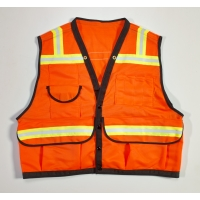 High Visibility Mesh Super Deluxe Surveyor Vest with 2 Vertical and 2 Horizontal 1-1/2' Lime/Silver/Lime Reflective Stripes, XX-Large, Orange