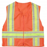 16334-45-4, High Visibility ANSI Class 2 Solid Deluxe DOT Safety Vest With Pockets, X-Large, Orange, Mega Safety Mart
