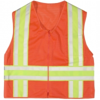 High Visibility ANSI Class 2 Deluxe DOT Mesh Safety Vest Mesh With Pockets, Large