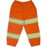 High Visibility Polyester ANSI Class E Mesh Pant with 4' Silver/Lime/Silver Reflective Tapes, Orange