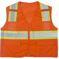 High Visibility Polyester ANSI Class 2 Surveyor Safety Vest with Pouch Pockets and 4' Lime/Silver/Lime Reflective Tape, Large, Orange