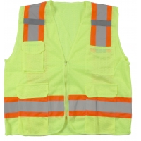16369-1-2, High Visibility Polyester ANSI Class 2 Surveyor Safety Vest with Pouch Pockets and 4 Orange/Silver/Orange Reflective Tape, Medium, Lime, Mega Safety Mart