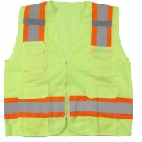 High Visibility Polyester ANSI Class 2 Surveyor Safety Vest with Pouch Pockets and 4' Orange/Silver/Orange Reflective Tape, Large, Lime