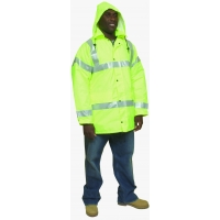 16370-138-6, High Visibility Polyester ANSI Class 3 Winter Parka Safety Coat with Heavy Insulation and 2 Silver Reflective Stripes, 3X-Large, Lime, Mega Safety Mart