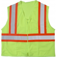 16376-0-1, High Visibility ANSI Class 2 Safety Vest with 1 Outside and 1 Inside Pocket and 4 Orange/Silver/Orange Reflective Tape, Small/Medium, Lime, Mega Safety Mart