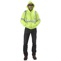 High Visibility ANSI Class 3 Lime Fleece Hoodie with Reflective Stripes and Zipper, Medium