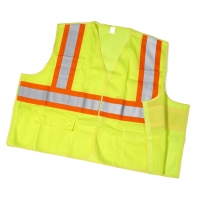 High Visibility ANSI Class 2 Mesh Tear Away Safety Vest with Pouch Pockets and 4' Orange/Silver/Orange Reflective Tape, Large, Lime